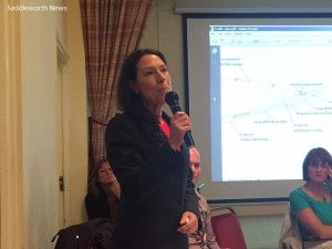 Debbie Abrahams MP speaking to the residents